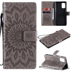 Embossing Sunflower Leather Wallet Case for OnePlus 8T - Gray