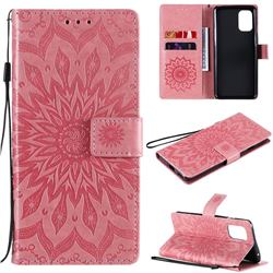 Embossing Sunflower Leather Wallet Case for OnePlus 8T - Pink
