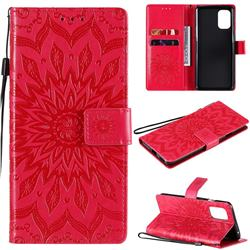 Embossing Sunflower Leather Wallet Case for OnePlus 8T - Red