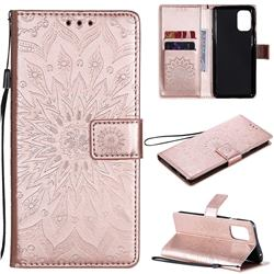 Embossing Sunflower Leather Wallet Case for OnePlus 8T - Rose Gold