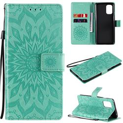 Embossing Sunflower Leather Wallet Case for OnePlus 8T - Green