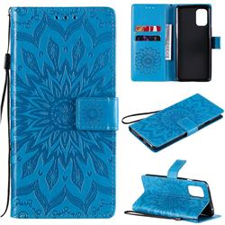 Embossing Sunflower Leather Wallet Case for OnePlus 8T - Blue