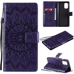 Embossing Sunflower Leather Wallet Case for OnePlus 8T - Purple
