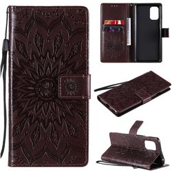 Embossing Sunflower Leather Wallet Case for OnePlus 8T - Brown