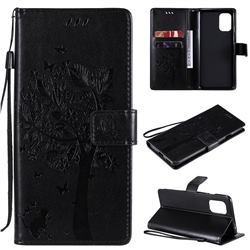 Embossing Butterfly Tree Leather Wallet Case for OnePlus 8T - Black