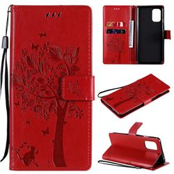 Embossing Butterfly Tree Leather Wallet Case for OnePlus 8T - Red