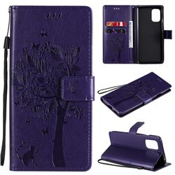 Embossing Butterfly Tree Leather Wallet Case for OnePlus 8T - Purple