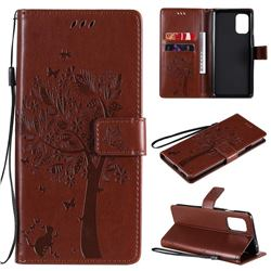 Embossing Butterfly Tree Leather Wallet Case for OnePlus 8T - Coffee