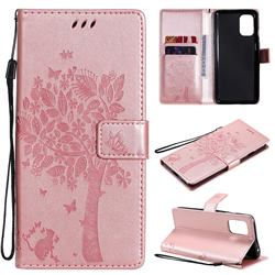 Embossing Butterfly Tree Leather Wallet Case for OnePlus 8T - Rose Pink
