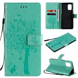 Embossing Butterfly Tree Leather Wallet Case for OnePlus 8T - Cyan