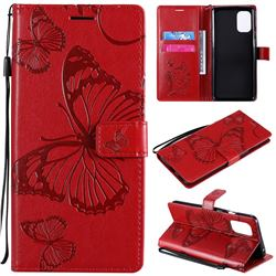 Embossing 3D Butterfly Leather Wallet Case for OnePlus 8T - Red