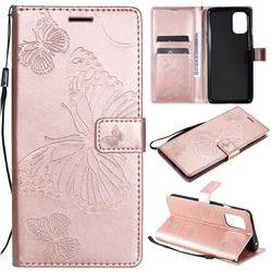Embossing 3D Butterfly Leather Wallet Case for OnePlus 8T - Rose Gold