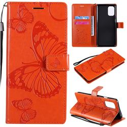 Embossing 3D Butterfly Leather Wallet Case for OnePlus 8T - Orange