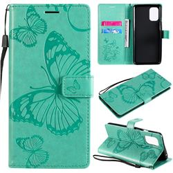 Embossing 3D Butterfly Leather Wallet Case for OnePlus 8T - Green