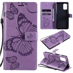 Embossing 3D Butterfly Leather Wallet Case for OnePlus 8T - Purple