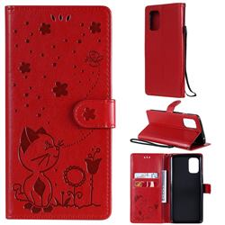 Embossing Bee and Cat Leather Wallet Case for OnePlus 8T - Red