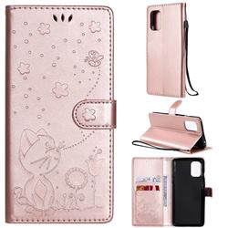 Embossing Bee and Cat Leather Wallet Case for OnePlus 8T - Rose Gold
