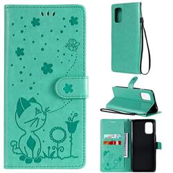Embossing Bee and Cat Leather Wallet Case for OnePlus 8T - Green