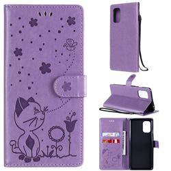 Embossing Bee and Cat Leather Wallet Case for OnePlus 8T - Purple