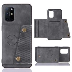 Retro Multifunction Card Slots Stand Leather Coated Phone Back Cover for OnePlus 8T - Gray