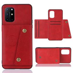 Retro Multifunction Card Slots Stand Leather Coated Phone Back Cover for OnePlus 8T - Red