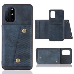 Retro Multifunction Card Slots Stand Leather Coated Phone Back Cover for OnePlus 8T - Blue