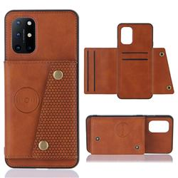 Retro Multifunction Card Slots Stand Leather Coated Phone Back Cover for OnePlus 8T - Brown