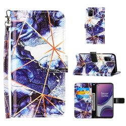 Starry Blue Stitching Color Marble Leather Wallet Case for OnePlus 8T