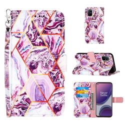 Dream Purple Stitching Color Marble Leather Wallet Case for OnePlus 8T
