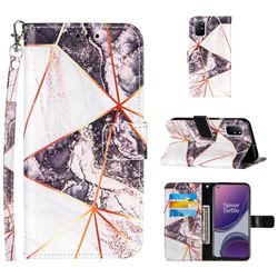 Black and White Stitching Color Marble Leather Wallet Case for OnePlus 8T