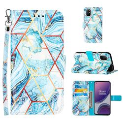 Lake Blue Stitching Color Marble Leather Wallet Case for OnePlus 8T