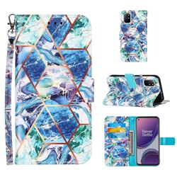 Green and Blue Stitching Color Marble Leather Wallet Case for OnePlus 8T