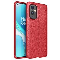 Luxury Auto Focus Litchi Texture Silicone TPU Back Cover for OnePlus 9 - Red