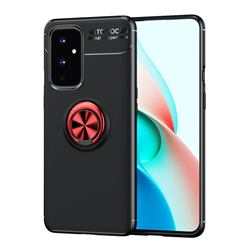 Auto Focus Invisible Ring Holder Soft Phone Case for OnePlus 9 - Black Red