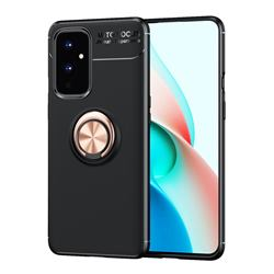 Auto Focus Invisible Ring Holder Soft Phone Case for OnePlus 9 - Black Gold