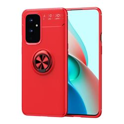 Auto Focus Invisible Ring Holder Soft Phone Case for OnePlus 9 - Red