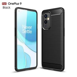 Luxury Carbon Fiber Brushed Wire Drawing Silicone TPU Back Cover for OnePlus 9 - Black