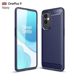 Luxury Carbon Fiber Brushed Wire Drawing Silicone TPU Back Cover for OnePlus 9 - Navy