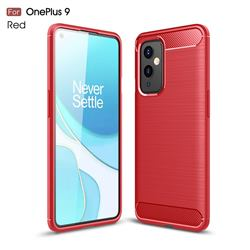 Luxury Carbon Fiber Brushed Wire Drawing Silicone TPU Back Cover for OnePlus 9 - Red
