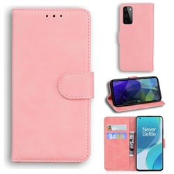 Retro Classic Skin Feel Leather Wallet Phone Case for OnePlus 9 - Pink