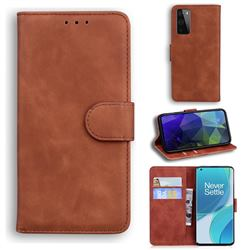 Retro Classic Skin Feel Leather Wallet Phone Case for OnePlus 9 - Brown
