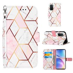 Pink White Stitching Color Marble Leather Wallet Case for OnePlus 9