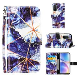 Starry Blue Stitching Color Marble Leather Wallet Case for OnePlus 9