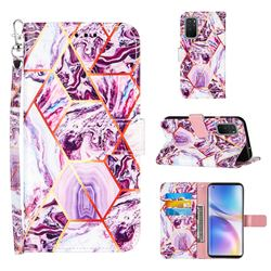 Dream Purple Stitching Color Marble Leather Wallet Case for OnePlus 9