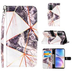 Black and White Stitching Color Marble Leather Wallet Case for OnePlus 9