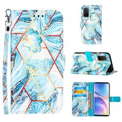 Lake Blue Stitching Color Marble Leather Wallet Case for OnePlus 9