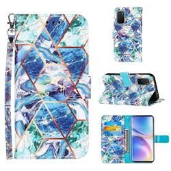 Green and Blue Stitching Color Marble Leather Wallet Case for OnePlus 9