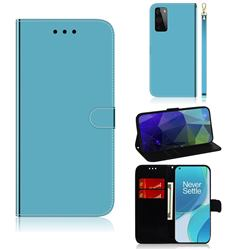 Shining Mirror Like Surface Leather Wallet Case for OnePlus 9 - Blue