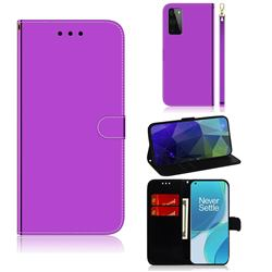 Shining Mirror Like Surface Leather Wallet Case for OnePlus 9 - Purple
