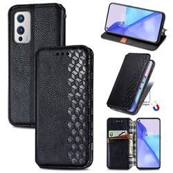 Ultra Slim Fashion Business Card Magnetic Automatic Suction Leather Flip Cover for OnePlus 9 - Black